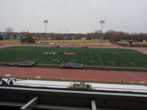 Soccer in the stadium of the college in Oshkosh
